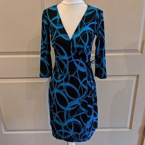 Black and blue wrap dress - CA003